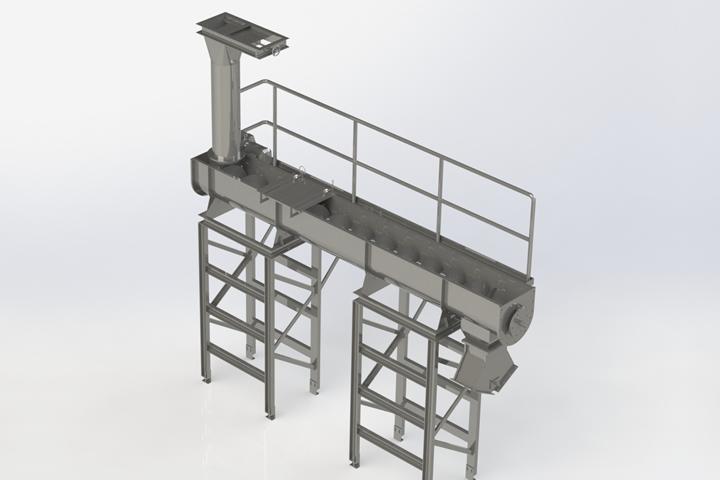 screw conveyor with slidegate valve diverter